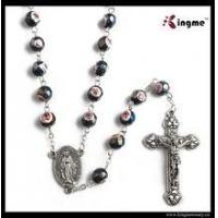 China Religious 8mm faceted azure stone beads rosary with our lady of Miraculous medal on sale