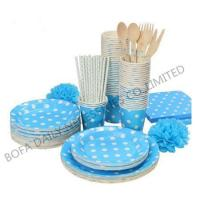 Cheap PRODUCT White dot printing tableware set paper party tableware set wholesale