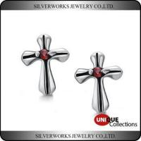Cheap Men's Gothic Punk Thai Silver Cross Shapen CZ Silver Stud Earring With Zricon wholesale