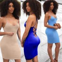 Cheap 3 Color Stylish Mini Dress with Tie Up back XD602 #XD602 wholesale