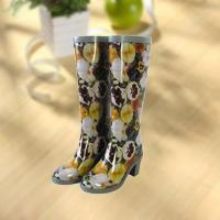 Cheap Sexy lady flower vase printing rubber rain boot wholesale