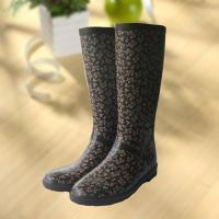 Cheap Elegant flowers printing rubber rain boot, woman knee boot wholesale