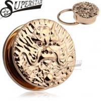 Cheap Chinese Zodiac Dragon Logo Casting Rose Gold Stainless Steel Ear Plug wholesale