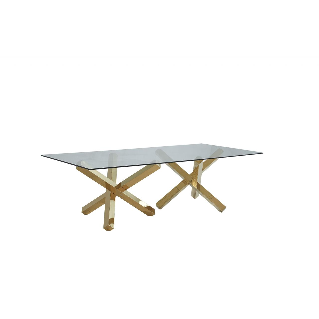 China 2019 Golden furniture glass top dining table set 1681# on sale